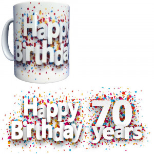 Tazza In Ceramica Happy Birthday 70 Years Tazze Regalo PS 09370-25 Pelusciamo Store Marchirolo