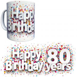 Tazza In Ceramica Happy Birthday 80 Years Tazze Regalo PS 09370-26 Pelusciamo Store Marchirolo