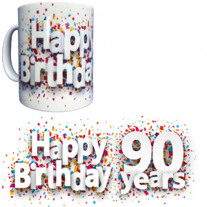 Tazza In Ceramica Happy Birthday 90 Years Tazze Regalo PS 09370-27 Pelusciamo Store Marchirolo