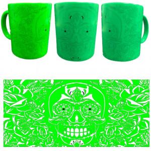 Tazza In Ceramica Verde Fluo Teschio Horror Tazze Regalo PS 09372-1 Pelusciamo Store Marchirolo