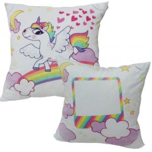 Cuscino Unicorno 35x35 cm Personalizzabile Foto o Frasi PS 10338 Gadget Personalizzato