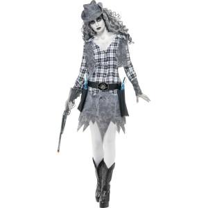 Costume Halloween Carnevale Donna CowGirl Fantasma Smiffys  Far West | Pelusciamo.com