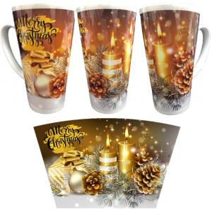 Tazza Natalizia Merry Christmas Tazzone Grande Conico 490 ml  PS 11482-1 Pelusciamo Store Marchirolo