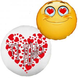 Cuscino Ti Amo Emoji Tondo 35 cm Gadget San Valentino Innamorati  PS 13088-1 Pelusciamo Store Marchirolo