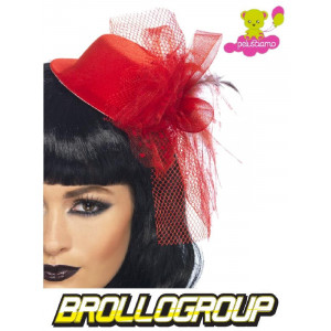 Accessori Costume Carnevale Cappellino Halloween Burlesque Rosso | pelusciamo.com