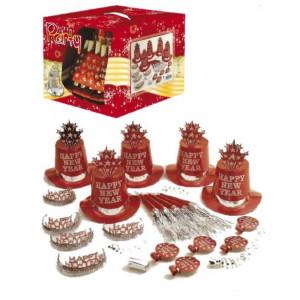 Gadget Capodanno, Set  Accessori Festa Happy New Year Rosso PS 19316 Pelusciamo Store Marchirolo
