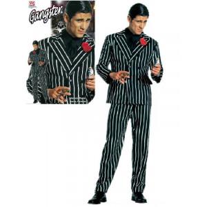 Costume Carnevale uomo gessato Gangster giacca + pantaloni *19789 pelusciamo store