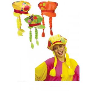 Accessorio costume Carnevale cappello con treccie Clown Pagliaccio *19825 pelusciamo store