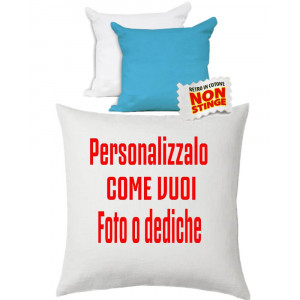 Cuscino Personalizzabile Bicolore Bianco Celeste 40x40 cm PS 10747 Gadget Personalizzato