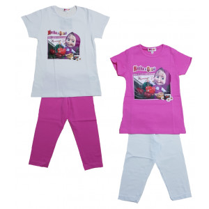 Completo leggero Bambina T-shirt e leggings Masha e Orso   Pelusciamo.com