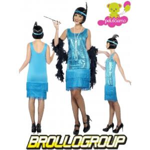 aa4bfd623dd6 Costume Carnevale Donna Charleston Azzurro Anni 20, 30 Ballo *16229