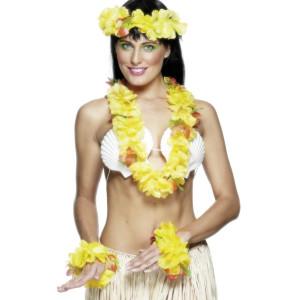 Set Hawaiano Ghirlanda Fiori Giallo - Feste Party  Collana Hawaii piscina spiaggia
