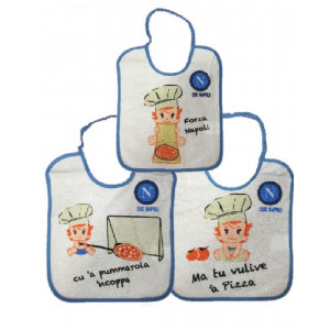 3 Bavaglini neonato pizza 20x25 cm ufficiale SSC Napoli*00045 | pelusciamo.com