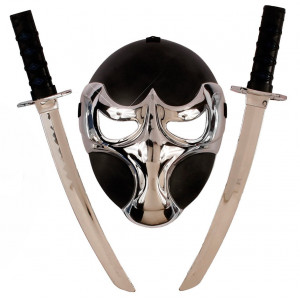 Set Ninja lusso, Nero Argento Accessori Costume Carnevale PS 09334 Pelusciamo Store Marchirolo