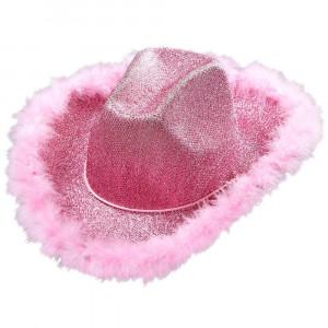 Cappello Cowgirl Rosa con Lurex e Piume di Marabu, One size PS 10030 Pelusciamo Store Marchirolo