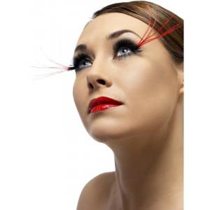 Accessori costume carnevale Ciglia Finte Nere Piume Rosse makeup | pelusciamo.com