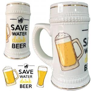 Boccale Birra In Ceramica Save Water Drink Beer Boccali Personalizzati PS 13514-2 Pelusciamo Store Marchirolo