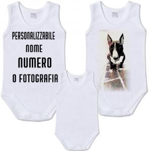 Body Smanicato, Bianco, Abbigliamento Personalizzabile Neonato PS 13735