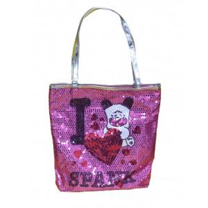 Borsa Shopping tessuto Hello Spank rosa con paiettes | Pelusciamo.com