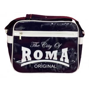 Borsa a tracolla plastificata The City of Roma blu   Pelusciamo.com