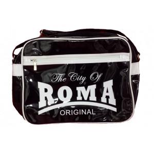 Borsa a tracolla plastificata The City of Roma nera   Pelusciamo.com