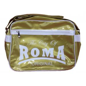 Borsa a tracolla plastificata The City of Roma oro   Pelusciamo.com