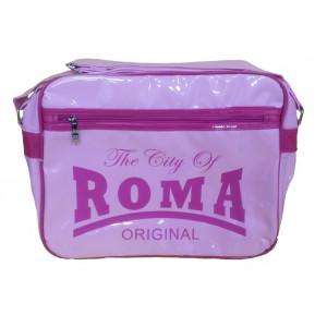Borsa a tracolla plastificata The City of Roma rosa   Pelusciamo.com
