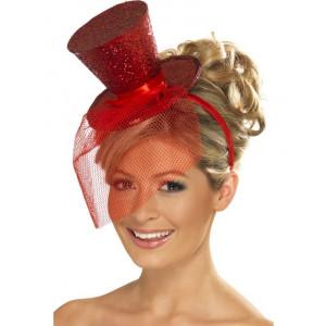 Accessori costume carnevale Cappellino Burlesque rosso Glitter CanCan | pelusciamo.com