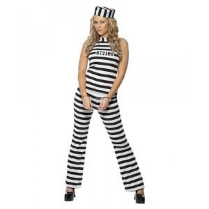 Costume Carnevale donna Carcerata travestimento Prigioniera smiffys *10372