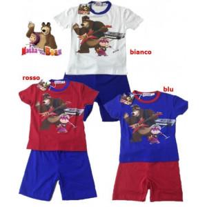Completo estivo Corto Bimbo T-shirt e pantaloncini Masha e Orso