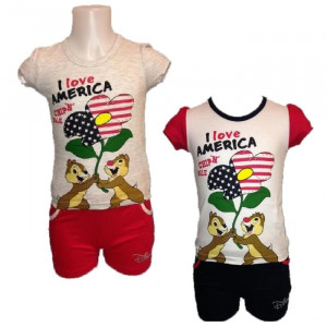 Completino Bambina Cip e Ciop Maglietta e Pantaloncini Disney Bimba | pelusciamo.com