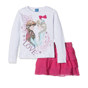 Completo Bimba Disney Frozen T-Shirt Manica Lunga Gonna PS 09231 Pelusciamo Store Marchirolo