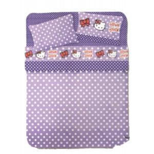 Completo letto Hello Kitty 1 Piazza 1/2 Viola pois cartoni cartoon animati tv *05996