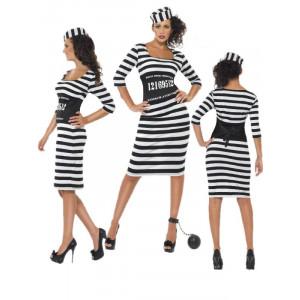 Costume Carnevale Donna Carcerata travestimento prigioniera smiffys *17700