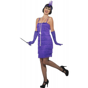 Costume Carnevale Donna Charleston Anni 20 Gonna Corta Viola PS 25312 Pelusciamo Store Marchirolo