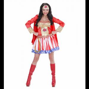Costume Carnevale Donna Super eroina vestito con mantello *19880 pelusciamo store