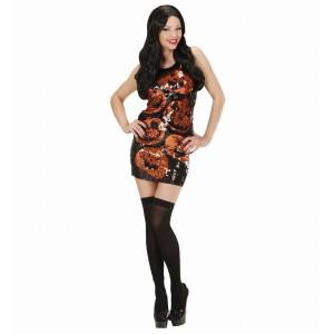 Costume Halloween Donna, Vestito Paillettes Zucche PS 09145 Pelusciamo Store Marchirolo
