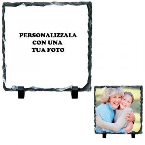 Cornice Pietra Ardesia Quadrata Personalizzabile 20x20 cm Gadget Personalizzata | Pelusciamo.com