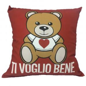 Cuscino Orsetto Teddy Love Ti Voglio Bene Regalo x San Valentino 35x35 Cm PS 04906 Pelusciamo Store Marchirolo