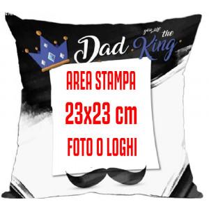 Cuscino Festa del Papa' Dad King Personalizzabile 40x40 cm PS 10345 Pelusciamo Store Marchirolo