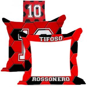 Cuscino Tifoso RossoNero 40x40 cm Personalizzabile Foto o Frasi PS 10593 Gadget Personalizzato Pelusciamo Store Marchirolo