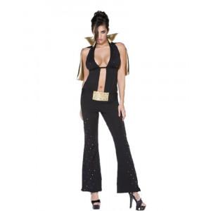 Costume Carnevale Donna Elvis Presley Viva Las Vegas Nero Oro *12281