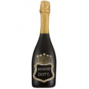 Bottiglia Di Prosecco Extra Dry 0.75 ML. Personalizzata Auguri Dottore PS 27272
