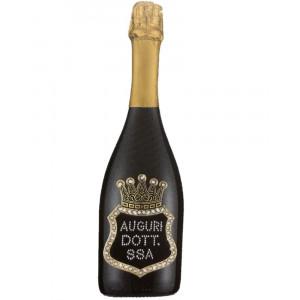 Bottiglia Di Prosecco Extra Dry 0.75 ML. Personalizzata Auguri Dottoressa PS 27273