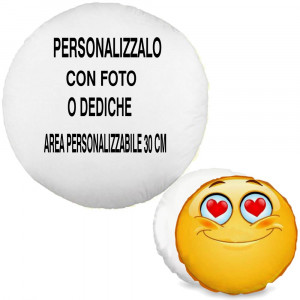 Cuscino Emoji Tondo 35 cm Personalizzabile Foto o Frasi PS 13088 Gadget Personalizzato Pelusciamo Store Marchirolo