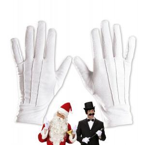 Accessorio Costume Babbo Natale Adulto , Guanti Bianchi  | pelusciamo.com