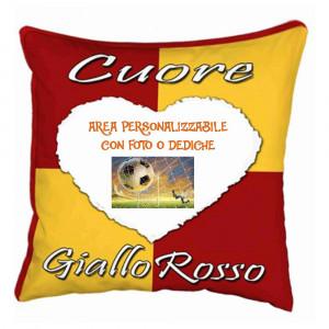 Cuscino Tifoso Cuore Giallorosso 40x40 cm Personalizzabile Foto o Frasi PS 10355 Gadget Personalizzato Pelusciamo Store Marchirolo