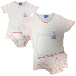 Completo Intimo Bambina Disney T-Shirt Con Slip Frozen PS 09799 Pelusciamo Store Marchirolo