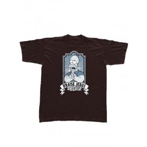 T-Shirt Maglietta Homer Simpson Praise Jebus Abbigliamento Uomo Adulto *05745