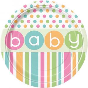 Confezione 8 Piatti Carta 17 cm , Baby Shower Nascita  | Pelusciamo.com